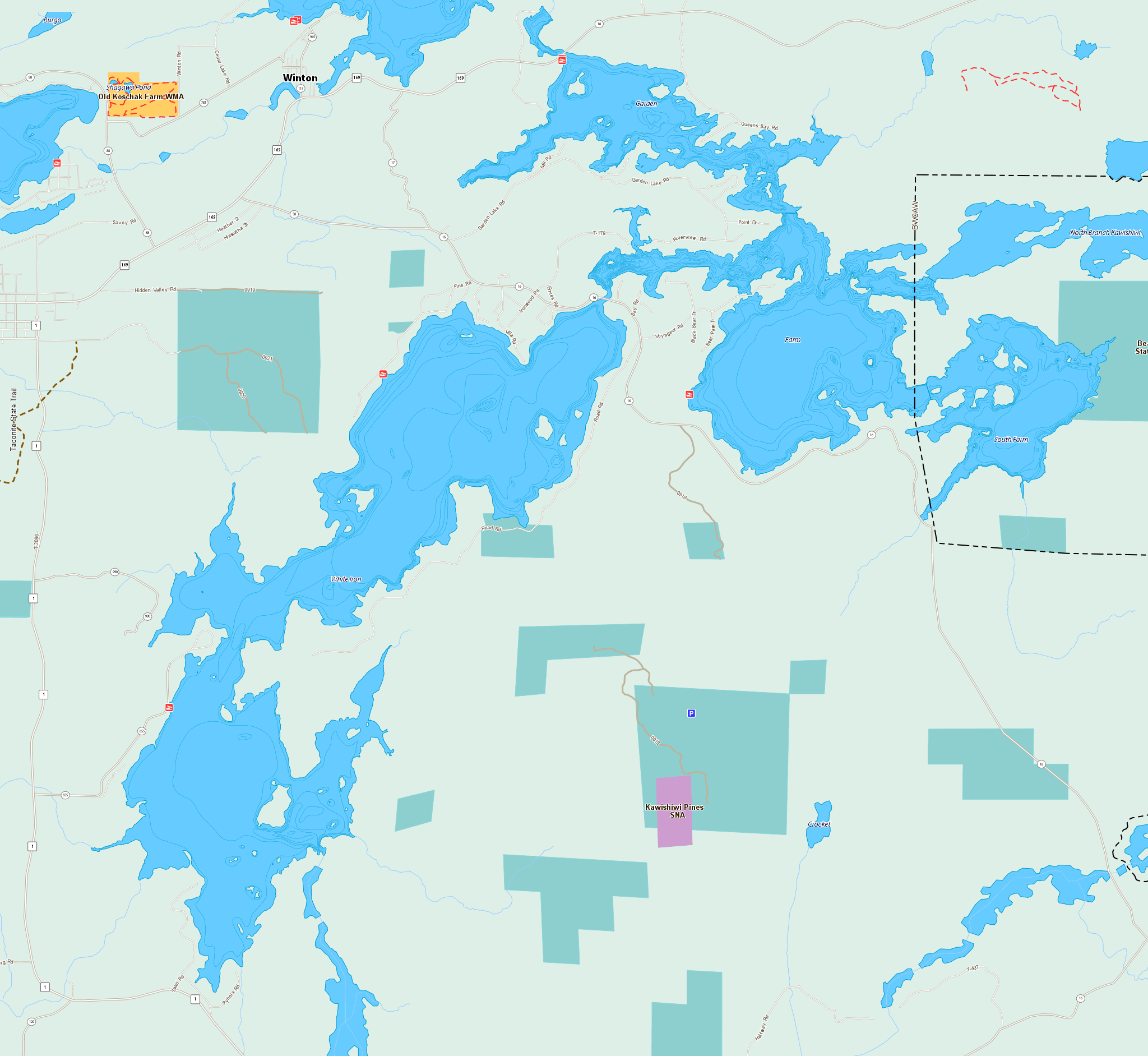 Ely Area Resort Location Map & Ely Area Lake Maps